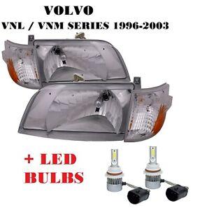 VOLVO VNL 300 VNM 200 SERIES CHROME DIAMOND HEAD LIGHTS LAMP CORNER LIGHTS 4PCS