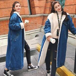 Womens Denim Coat Fur Fleece Lined Thicken Warm Loose Jacket Long Parkas Trench