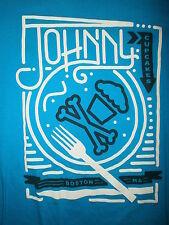 JOHNNY CUPCAKES BRAND T SHIRT Skull Crossbones Electric Diner Dinner Plate Fork