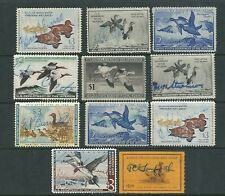 UNITED STATES DUCKS 10 different FEDERAL plus 1 STATE F USED