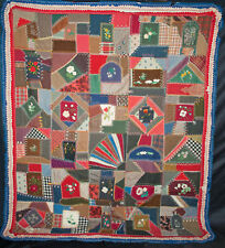 ANTIQUE 1880 CRAZY QUILT GRAPHIC HAND DONE HEAVILY EMBROIDERED RAISED FLORALS