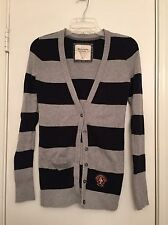Abercrombie And Fitch Stripe Button Up Sweater Cardigan Medium Black And Grey