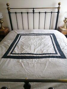 DORMA Double Duvet Cover White & Black Square Design 100% Cotton Zippered