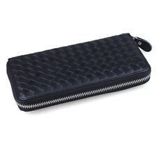 Unisex Leather Long Wallet Soft Weaving Pattern Card Cash Holder Zipper Purse