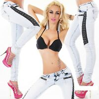 Women's Ladies Slim Skinny Jeans light Blue Leather look insert UK 6 8 10 12 14