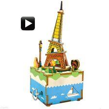 3D Wooden Puzzle Eiffel Tower Crank Music Box Robotic Robotime Jigsaw DIY Wood