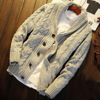 Men's Knitted Cardigan Sweater Jumper Braided Jacket Shawl Collar Thermal Winter