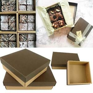 Deluxe Leather Effect Kraft Boxes - Baking Macaron Cake Biscuit Brownie Traybake