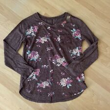 Justice NWT Heathered Purple Front Pocket Floral Long Sleeve T-Shirt Size 12