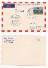 1965 GERMANY Flight Cover BREMEN to HAMBURG LH237 Lufthansa SG1335 Postcard