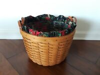 LONGABERGER CORN BASKET LEATHER HANDLES WITH PROTECTOR & LINER 1993 - NICE !!!