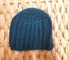 Vibrant Teal Blue Wool Crocheted Hat - Unisex - 6-9 months