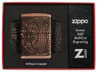 ZIPPO Globus Weltkarte Antique Copper Feuerzeug Multicut Tiefengravur - 60005451