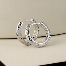 Wedding Jewelry Women Earrings 18k White Gold Filled 16MM Hollow Hoop Huggie