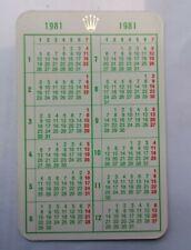 Genuine Vintage Rolex 1981 Calendar Card
