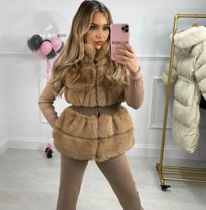 Womens Ladies Faux Fur Zip Up Elasticated Waistcoat Gilet Short Jacket Coat New