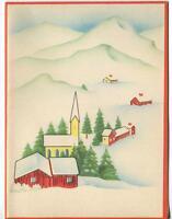 VINTAGE 1940'S CHRISTMAS MINIMALISM RED HOUSE CHURCH SNOW VILLAGE GREETING CARD
