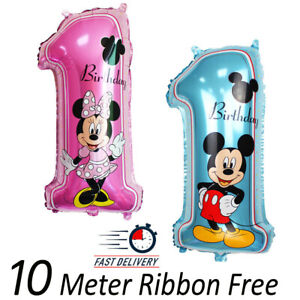 "32"" Disney 1st Birthday Number 1 Boy Girl Foil Ballon Mickey Minnie Mouse baloon"