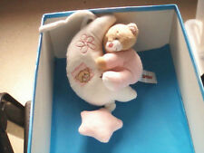 """DOUDOU 2587 / PELUCHE MUSICALE LUNE + OURS """"BESTOY"""" BLANC/ROSE - ETOILE"""