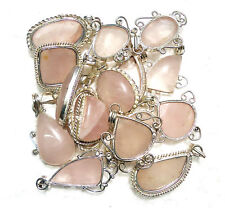 925 Silver Plated Wholesale Lot 5 Pcs Rose Quartz Silver Plated Jewelry