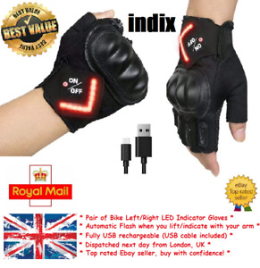 Bike Indicator Gloves ''Indix'' Red Light Pair UK Cycling Safety Automatic USB