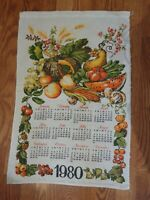 VINTAGE 1980 KITCHEN LINEN WALL CALENDAR HARVEST FRUITS VEGETABLES PRETTY 16X27