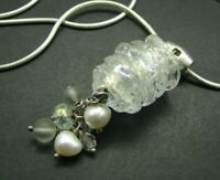 STERLING SILVER Omega Necklace WELO OPAL GLASS SHIMMER Genuine Pearls PENDANT