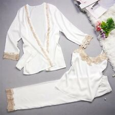 New Luxurious Silk Ladies Womens Set of 3 Pearl White Pyjamas Pajamas ladpj178