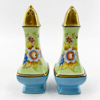 Vintage Hand Painted Flowers Gold Top Porcelain Salt Pepper Shakers Japan 5.5""