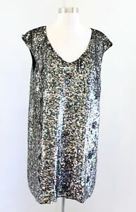 NWT $248 French Connection Forest Green Multi Sequin Beaded Shift Dress Party 10