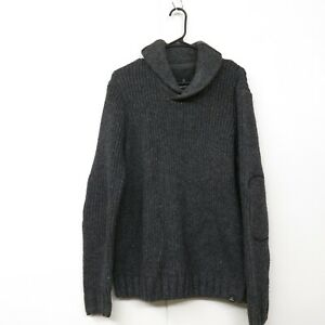 PrAna Men's Onyx Shawl Collar Gray Elbow Patches Pullover Knitted Sweater SZ L