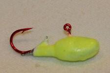5 pk Ice Fishing Jigs Heavy Belly Glow Yellow Crappie Perch Bluegill Walleye