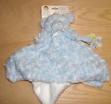 Blankets and Beyond adorable Nunu blue scruffy bear security blanket NWT