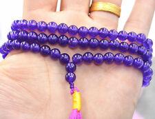 New 6mm stone Buddhist  Amethyst  108 Prayer Beads Mala Bracelet Necklace ZK-35