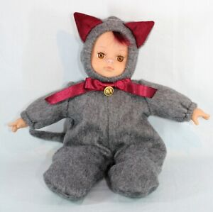 Vinyl and Cloth Doll dressed as a Cat OOAK 13inch 33cm
