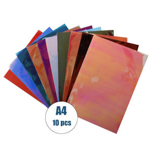 10pcs pack Holographic Craft VinylSheets/Pack Adhesive Sticker Wall Cup letter