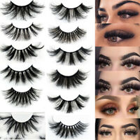 7 Pair 3/6/8D Bushy Cross False Eyelashes Mink Soft Hair Eye Lashes Black..