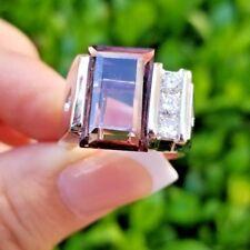 Beautiful Mauve VVS Tourmaline 8 Carat Diamond 14K white gold ring