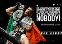 CONOR MCGREGOR QUOTE UFC 205 MMA Wall Art Print Photo Poster A3 A4