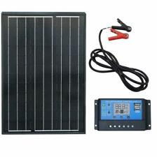 60W Mono Solar Panel 20A Charge Controller Battery Clips 6.6ft cable for Home