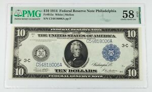 1914 $10 Federal Reserve Note Graded by PMG as Choice AU 58 EPQ Fr #915c