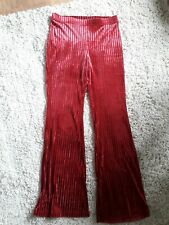 Cerise Red Size 10 Velour Wide Leg Trousers