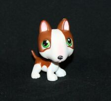 Littlest Pet Shop Lps Brown & White Bull Terrier #154 Green Eyes Dog