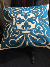 THROW PILLOW,Teal Embroided Beaded Cushion cover, Home decor, Cushion 50x50cm