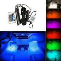 1 Set Colorful Car RGB LED Strip Light Interior Atmosphere Lamp Remote Ligh Q8Z6