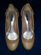Womens 7M Sperry Top Sider Jeffrey Beige Leather Wedge Heels Boat Shoes Slip On