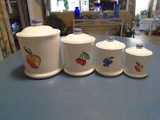 Corelle Fruit Too or Fruit Basket Set of 4 Covered Canisters
