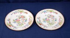 2 Antique Minton China Cuckoo Bird on Plates Floral Luncheon Plates Globe Stamp