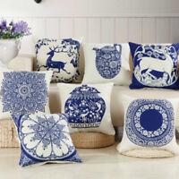 Cushion Cover Pillowcase Chinese Classical Blue And White Porcelain Sofa Chair