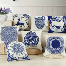 Cushion Cover Pillowcase Chinese Classical Blue And White Porcelain Sofa Chair